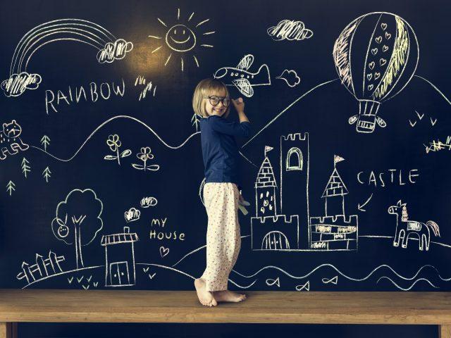 Little Girl Education Blackboard Concept